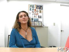 Big tits milf comes into an office and to fuck for cash