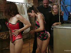 bdsm, glasses, public disgrace, choking, redhead babe, red corset, public disgrace, kink, rob diesel, mona wales, zenda sexy, valentina bianco