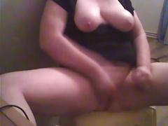 Chubby girlfriend tugging on her huge clit - solo-girl - masturbation