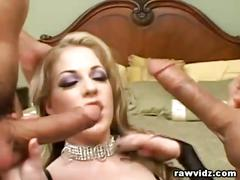 Slutty blonde raw double penetration fuck