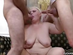 Plumper blonde mature jizzed in a 3some
