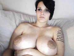 Babe with huge tits masturbates with dildo