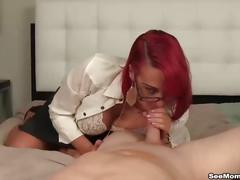 big tits, blowjob, milf, red head, seemomsuck, mom, mother, redhead, mature, pov, bowjob, cock-sucking, glasses, tease, fake-tits, heels, tattoo, uniform