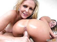 julia ann, danny mountain, kendall kayden, blowjob, riding, cumshot, facial, blonde, reverse cowgirl, threesome, oil, cowgirl, massage, pussy licking, sucking