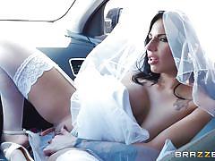 Big tit brunette bride wants a hardcore ride