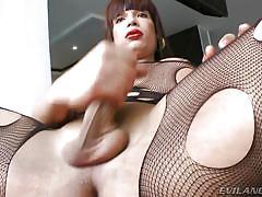shemale big boobs, tranny babe, big ass ladyboy, tattoo, brunette, masturbation, curvy, nylon costume, she plays with her cock, evil angel, cristalina