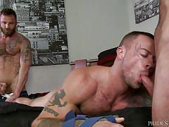 gay blowjob, gay threesome, gay rimjob, gay 69, bearded gay, tattooed, big dick, massage, pride studios, sean duran, derek parker, matt stevens