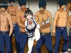 Busty hentai girl stripped naked for gangbang fuck