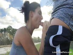 Sweet girl sucks my massive cock while on a picnic