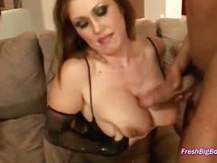 Brunette smothers him with her tits