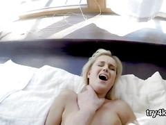 Fervent chick sucks penis in pov and gets spread snatch fucked