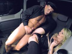 Fucked in traffic - blonde cunt claudia macc giving a bj to her chauffer