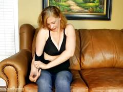 Busty mom masturbates then gives a blowjob on casting couch