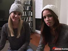 Charlotte stokely and madi meadows letting their tongues loose on minge