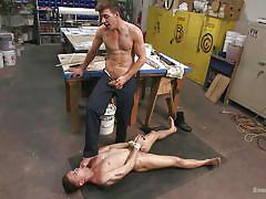 gay bdsm, tattooed gay, gay domination, tied up, rope bondage, anal dildo, gay feet licking, on table, bound gods, kink men, jj knight, tyler rush