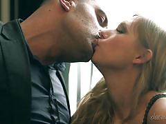 Blonde jerks off and sucks off a horny man @ stocking seduction