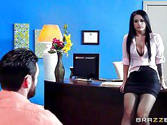 Brunette babe rides hard on boss's big dick