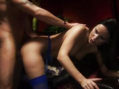 Girl in fishnet stockings groans in pleasure as she gets throbbed rough