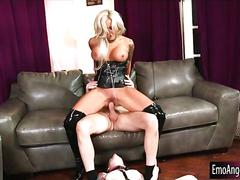 Emo chick in leash all holes screwed by horny dude and milf