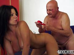 Grandpa gropes busty brunette