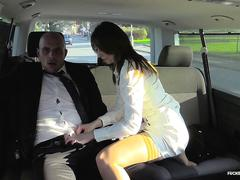 Fucked in traffic - slutty bitch meggie marika getting rammed on the backseat of the car