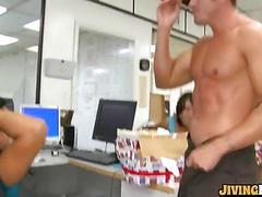 Hot office party with dancers