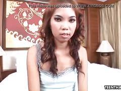 Skinny thai teen gets her ass cummed on