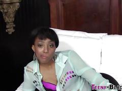 Blowing ebony teen jizz