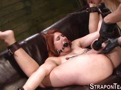 bdsm, femdom, hardcore, lesbian, fucking, sucking, bondage, clamp, redhead, strapon, toy, domina