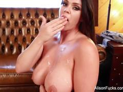 Brunette hottie alison gets cum all over her huge tits