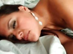 Brunette gets sex in hairy pussy
