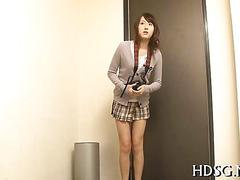 Japanese schoolgirl tits toyed and pussy vibrated in a threesome