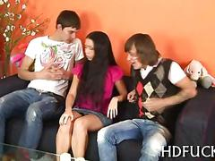 Russian teen gets her little tits licked in a threesome