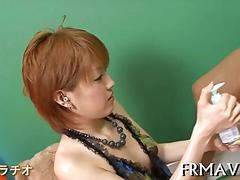 Small tits asian chick sucks dick all oiled up and fucks