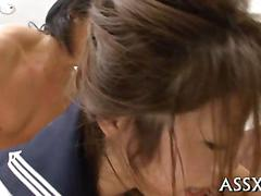 Japanese schoogir pussy fucked on the floor riding fat guy