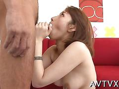 Trimmed japanese beauty rammed hard on a red couch