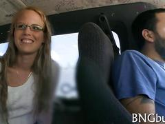 Cute teen with glasses talked into sucking dick in bang bus