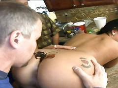 Old dude has fun with three hot whores rimming ass