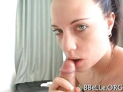 She bops her head on the cock to get him off