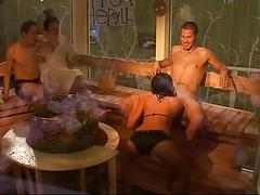 Big brother sauna blowjob