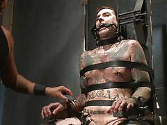 gay bdsm, gays, tattooed gay, bound, mouth gag, cock torture, device bondage, electro, 30 minutes of torment, kink men, ruckus