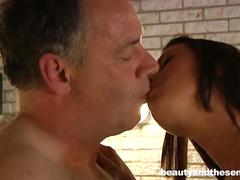Pierced brunette teen leyla takes an old cock