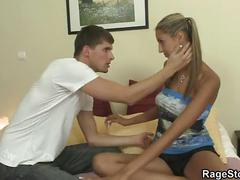 Rough blowjob and sex for his slutty gf