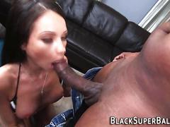 Babe sucks huge black rod