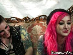 blowjob, brunette, emo, hardcore, sucking, fingering, lingerie, oral, stockings, face fucking