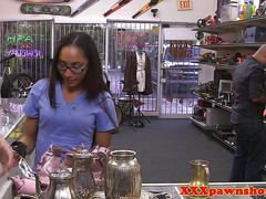 Finelooking pawnshop babe secretly filmed