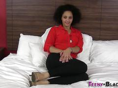 Black afro teen jizzy