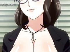 Hentai slut with huge melons hangs on a cock