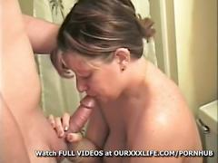 amateur, brunette, milf, ourxxxlife, homemade, facial, cumshot, blowjob, bj, big-tits, busty, shower, bathroom, oral