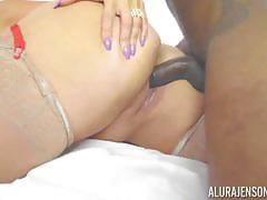 Balls deep pussy slamming hot and horny alura jenson as her daughters boyfriend watches